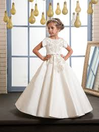 2018 elegant lace flower girls dresses a line kids gowns with