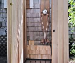 Exposed Outdoor Shower Fixtures - alluring wood planks shower ing system also minimalist style