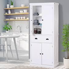 white storage cabinet for kitchen homcom free standing kitchen pantry 6ft wood kitchen