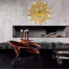 3d sun flower mirror effect wall clock sticker fashion design art