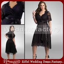 Cheap Plus Size Womens Clothing Black Lace Plus Size Bridesmaid Dresses With Sleeves A Line