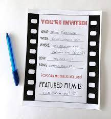 movie night party invitation free printable birthdays