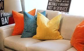 wide wale corduroy 22x22 papaya orange throw pillow from pillow decor