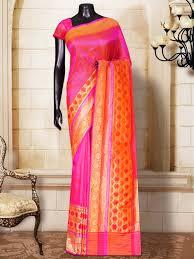pink silk plain contrast border u0026 pallu handloom saree sacred