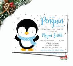 penguin baby shower penguin baby shower invitation boy winter baby shower invitation