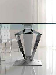 round stainless steel dining table pedestal base with glass