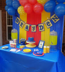 sesame street party table super grover party primary color