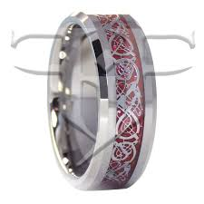 titanium tungsten rings images Silver celtic dragon tungsten ring red carbon fiber wedding band jpg