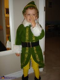 buddy elf costume blonde curly hair white fur elves