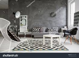 Black And White Interior Design Spacious Classic Living Room Black White Stock Photo 427241281