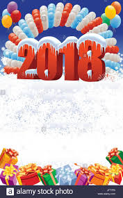 New Year Decoration With Balloons by New Year 2018 Decoration On White Winter Background With Balloons