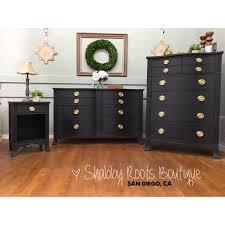 sold black vintage bow front bedroom set by drexel long dresser
