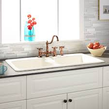 drop in kitchen sink with drainboard cast iron kitchen sinks new 43 selkirk bisque double bowl drop in