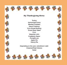 my standard thanksgving menu