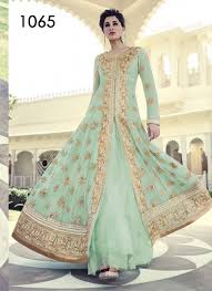 vandv green colour shades with heavy embroidery anarkali suit 500305