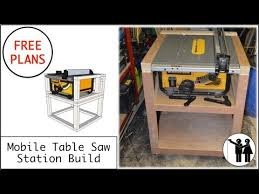 dewalt table saw folding stand mobile table saw station build for dewalt dw745 free plans youtube