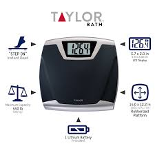 Bathroom Scale Battery Taylor Lithium Digital Thin Profile Bath Scale Model 7340