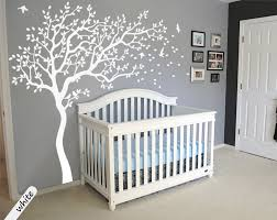 White Tree Wall Decal For Nursery White Tree Wall Decals Large Tree Nursery Decoration Nursery Wall