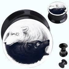 2pcs lot yin yang wolf sun and moon acrylic on ear