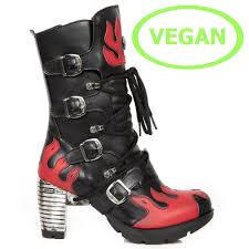 red motorcycle shoes m tr081 c2 vegan new rock trail high heeled boots with red flames