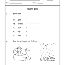 hindi worksheet opposite words vilom shabad hindi