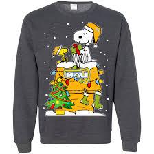 snoopy christmas sweatshirt northern arizona lumberjacks christmas sweaters snoopy