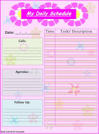 daily schedule template word excel pdf