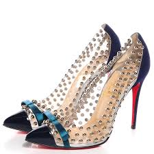 christian louboutin suede patent bille et boule 100 studded bow