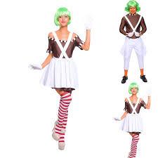 Oompa Loompa Costume Mens Ladies Candy Creator Fancy Dress Couple Costume Oompa Loompa