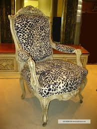 Leopard Print Swivel Chair French Provincial Hollywood Regency White Leopard Print Accent
