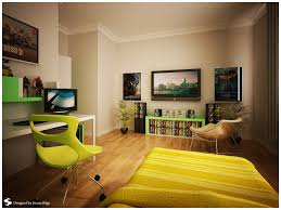 bedroom teenage room design modern chair yellow color and many