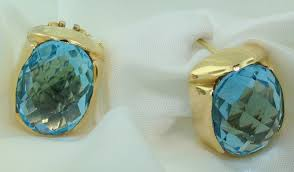 blue topaz earrings 18k italian designer pineapple cut blue topaz earrings exeter