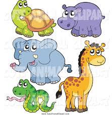 vector clip art of a cute cartoon tortoise hippo elephant