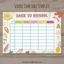timetable template vector free download