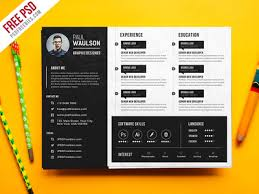 graphic design resume template free psd creative horizontal cv resume template psd by psd