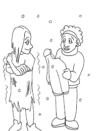 helping give warm clothes homeless coloring pages
