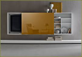 tv cabinet with doors to hide tv arlene designs rectangle white wooden television cabinets with brown doors and shelves floating on grey wall astonishing