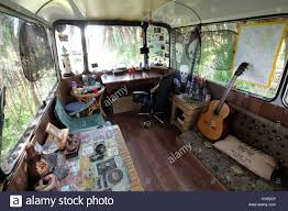 backpacker justine is staying in an old bus in paphos cyprus the
