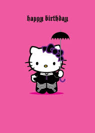 hello kitty happy birthday greetings card gothic amazon