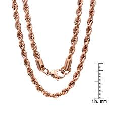 rose gold men necklace images Shop steeltime men 39 s thick rose gold tone rope chain on sale jpg