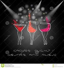 ladies night poster with cocktails design for women party stock