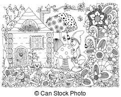 vector coloring book cartoon garden dwarf vector illustration