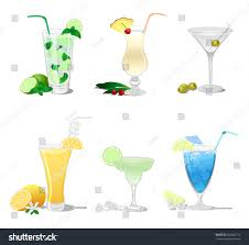 blue martini clip art set cocktails such mojito margarita pina stock vector 665628715