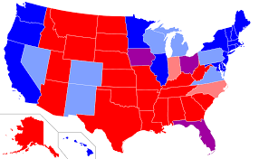 Map Of The United States In Color by Red States And Blue States Wikipedia