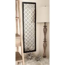 44 in x 12 in modern decorative lattice patterned wood mirror