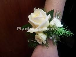 White Wrist Corsage 3a Fresh Triple White Rose U0026 Spray Rose Wrist Corsage On Diamante