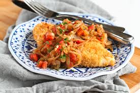 thanksgiving chicken breast recipe baked crispy chicken with caramelized onions u0026 tomatoes the