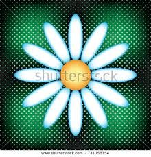 press on wallpaper white daisy on green gradient background stock vector 731058754