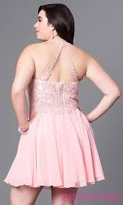 lace applique short plus size prom dress promgirl