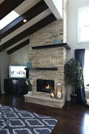 parade home floor ceiling stacked stone gas fireplace veneer cost